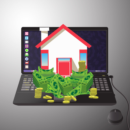 house with the money on a computer. icon. on a gray background. Illustrations. Use for Website, phone, computer, printing, fabric decoration design etc Illustration