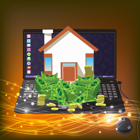 passive income: house with the money on a computer. icon. on a gold background with glowing lines. Illustrations. Use for Website, phone, computer, printing, fabric, decoration design etc
