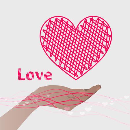 手は、ピンクのラインとピンクの心を保持します。バレンタインの s 日。灰色の背景。バレンタインの s 日。イラスト。Web サイト、携帯電話、コンピューター、印刷、生地、装飾デザイン等の使用