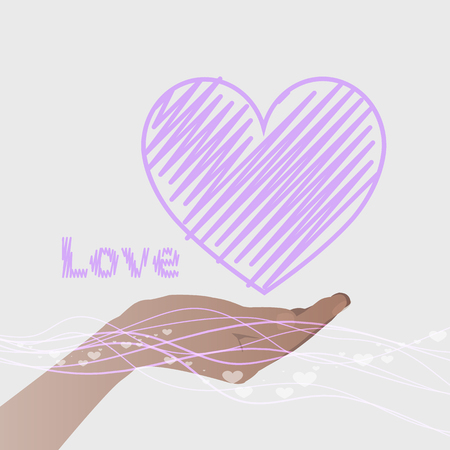 hand holding a heart with a purple line and the word love. Valentine s Day. on a gray background. Valentine s Day. Illustration. Use for Website, phone, computer, printing, fabric, decoration, design, etc.