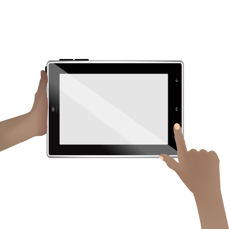 tabletpc: hand holds tablet computer the blank screen Illustration