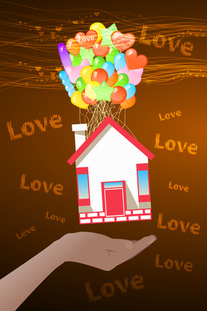 house in hand on the balloons. icon. Illustration