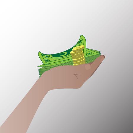 avarice: Hand with money dollar. Illustrations