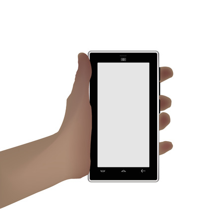 smartphone hand: Hand holding a smartphone. icon. Illustration