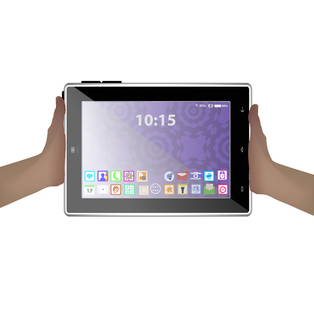 turquiose: hands holding a tablet computer icon. Illustration