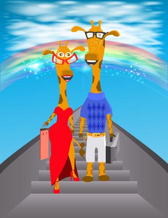 giraffe illustration. descend from the ladder