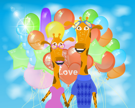 giraffe illustration. with a lot of balloons