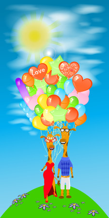 giraffe illustration. with a lot of balloons on  green hill Illustration
