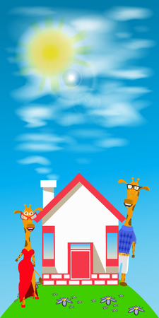 giraffes couple a house on the hill. mortgage Illustration