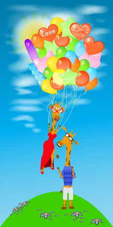 giraffe with a lot of balloons fly away Illustration
