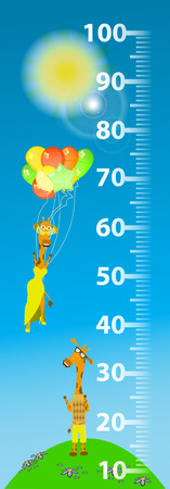 Height meter for children. giraffe flies Illustration