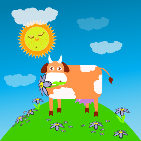 Cow eating grass meadow children s illustration