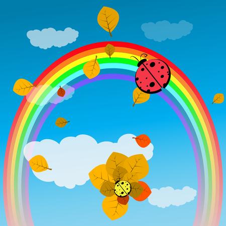 Baby Shower or Arrival God Ladybird on a rainbow