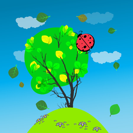 Baby Shower or Arrival Card God ladybird on a tree