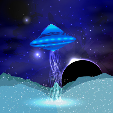 UFO in the space Illustration