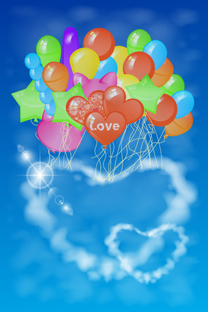 two hearts out of the clouds on a lot of balloons. illustration. against the sky. used for printing, website, smart phone, tablet computer, decoration, design, etc.