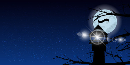 Sky moon trees night lighthouse light signal. Illustration. Use wallpaper for, the website, smart phone, tablet PC, printing, etc.