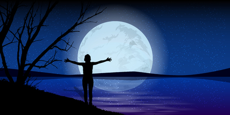 moonrise: Moon on the night sky. man hands stretch silhouette of sea water. Illustration. Use wallpaper for, the website, smart phone, tablet PC, printing, etc.
