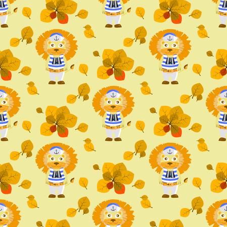 leaves and lion sailor. seamless pattern. children s illustration. is used to print, website, smartphone, design, textiles, ceramics, fabrics prints postcards packaging etc Illustration