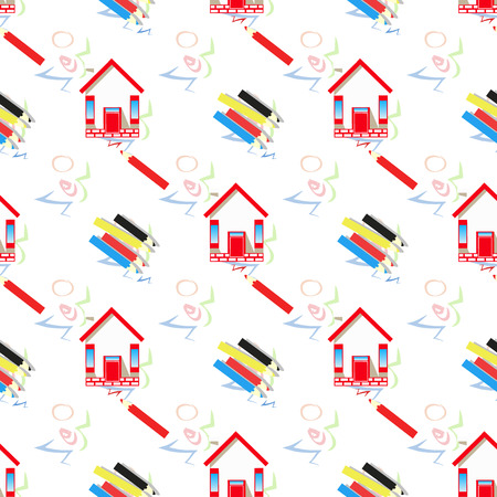 pencils and home. seamless pattern. children s illustration. is used to print, website, smartphone, design, textiles, ceramics fabrics prints postcards packaging etc