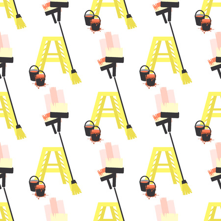 rollerbrush: brush ladder construction. seamless pattern. children s illustration. is used to print, website, smartphone, design, textiles, ceramics fabrics prints postcards packaging etc