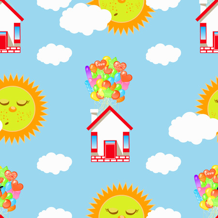 sleeping sun and house on a balloon with clouds. seamless pattern. children s illustration. used for printing, the website, Smart Phone, design etc