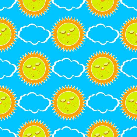 sleeping sun and clouds. seamless pattern. children s illustration. used for printing, the website, Smart Phone, design etc