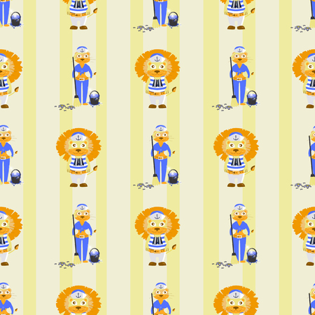 lion and lioness sailors. seamless pattern. children s illustration. used for printing, the website, Smart Phone, design etc