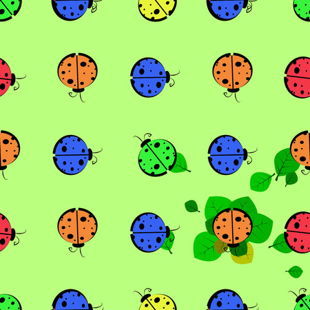 God ladybug on a leaf. seamless pattern. children s illustration. used for printing, the website, Smart Phone, design etc Illustration