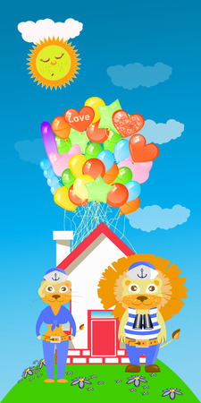 lion and lioness with a house and a lot of balloons. children s illustration. is used to print, website, smartphone, design, textiles, ceramics, fabrics, prints, postcards, packaging etc