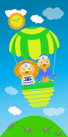 lioness: lion and lioness on a green balloon. children s illustration. is used to print, website, smartphone, design, textiles, ceramics, fabrics, prints postcards packaging etc