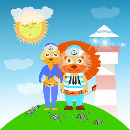 lioness: lion and lioness sailors from the lighthouse. children s illustration. is used to print, website, smartphone, design, textiles, ceramics, fabrics, prints postcards packaging etc