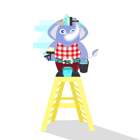 elephant paints the wall on the ladder. children s illustration. is used to print, website, smartphone, design, textiles, ceramics, fabrics, prints postcards packaging etc