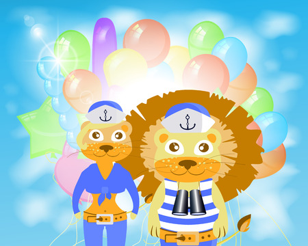 lion and lioness sailors with balloons. children s illustration. is used to print, website, smartphone, design, textiles, ceramics, fabrics, prints postcards packaging etc