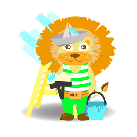 lion painter with brushes and paint bucket. children s illustration. is used to print, website, smartphone, design, textiles, ceramics, fabrics, prints postcards packaging etc
