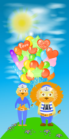 lion and lioness sailors with balloons on the sky background. children s illustration. is used to print, website, smartphone, design, textiles, ceramics, fabrics, prints, postcards, packaging etc