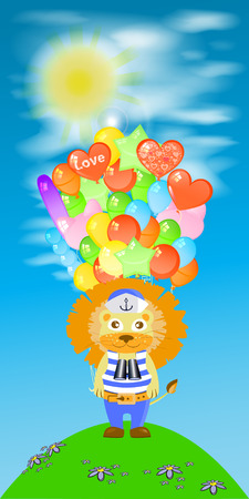 happybirthday: Lion with a lot of balls. children s illustration. is used to print, website, smartphone, design, textiles, ceramics, fabrics, prints postcards packaging etc