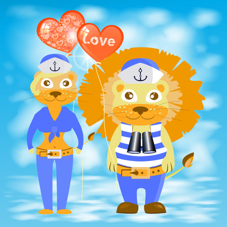 happybirthday: lion and lioness with balloons heart. children s illustration. is used to print, website, smartphone, design, textiles, ceramics, fabrics, prints postcards packaging etc Illustration