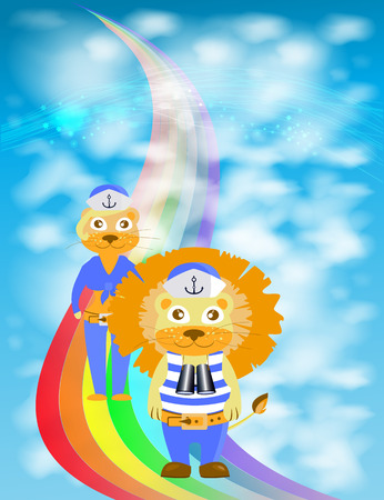 lion and lioness walk on a rainbow. children s illustration. is used to print, website, smartphone, design, textiles, ceramics, fabrics, prints postcards packaging etc