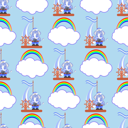 Elephant on the ship with a rainbow and a cloud. children s illustration. used for printing, the website, smart phone, design, textiles, ceramics, fabrics, prints, postcards, packaging etc Ilustração