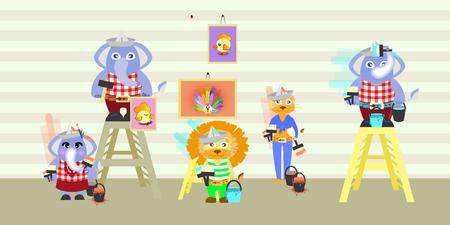 undomesticated: elephant and lion building repairs. children s illustration. is used to print, website, smartphone, design, textiles, ceramics, fabrics prints postcards packaging etc