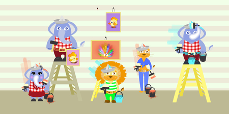 elephant and lion building repairs. children s illustration. is used to print, website, smartphone, design, textiles, ceramics, fabrics prints postcards packaging etc