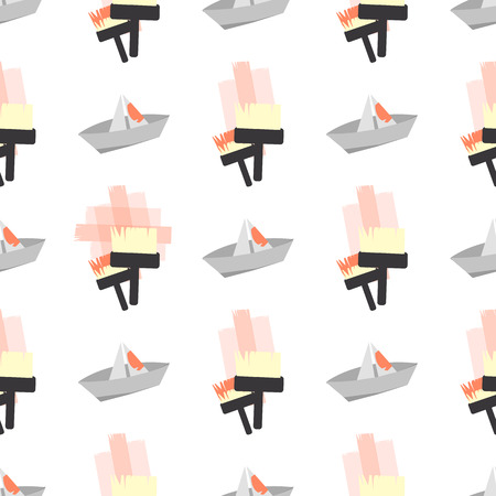 rollerbrush: Repair brush. seamless pattern. children s illustration. is used to print, website, smartphone, design, textiles, ceramics fabrics prints postcards packaging etc Illustration