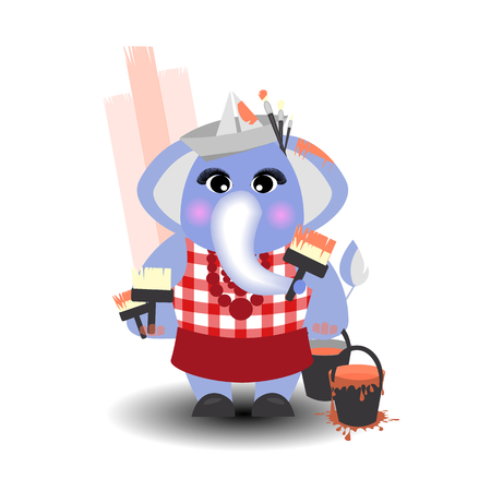 house painter: Elephant painter red paint on a white background. children s illustration. is used to print, website, smartphone, design, textiles, ceramics, fabrics, prints, postcards packaging etc