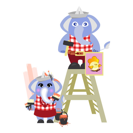 elephant and the elephant in the header of the builder of the newspaper on a white background. children s illustration. is used to print, website, smartphone, design, textiles, ceramics, fabrics, prints, postcards, packaging, etc. Illustration