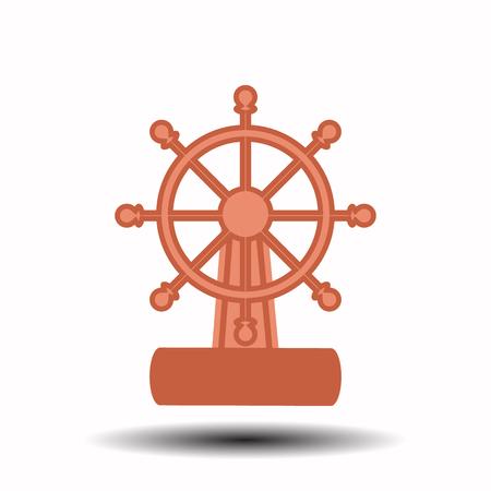 ruder: Schiffsrad auf einem weißen Hintergrund. Illustration der Kinder. wird verwendet, um zu drucken, website, smartphone, design, textilien, keramik, stoffe, drucke postkarten verpackung etc