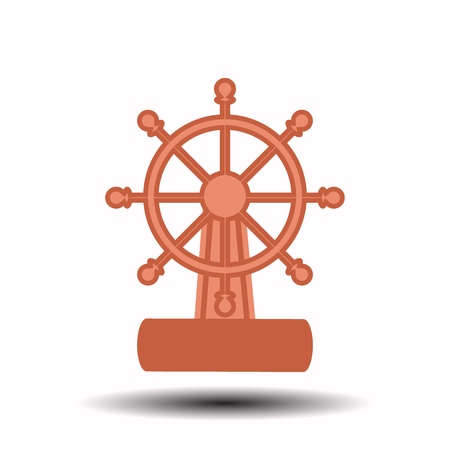 command: ship wheel on a white background. children s illustration. is used to print, website, smartphone, design, textiles, ceramics, fabrics, prints postcards packaging etc Illustration
