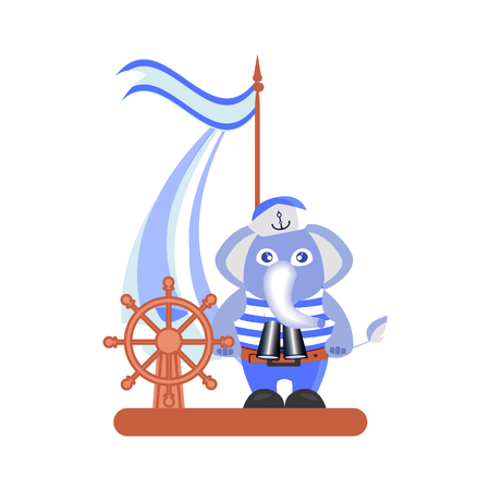 Elephant on the ship on a white background. children s illustration. is used to print, website, smartphone, design, textiles, ceramics, fabrics, prints, postcards packaging etc