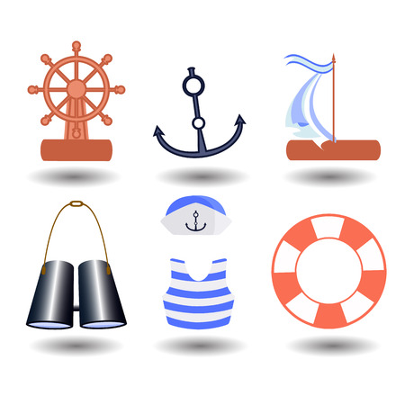 lifebelt: ship elements on a white background. children s illustration. is used to print, website, smartphone, design, textiles, ceramics, fabrics, prints postcards packaging etc