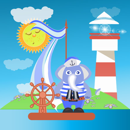 docking: Elephant on the ship at sea with the lighthouse. children s illustration. is used to print, website, smartphone, design, textiles, ceramics, fabrics, prints, postcards packaging etc